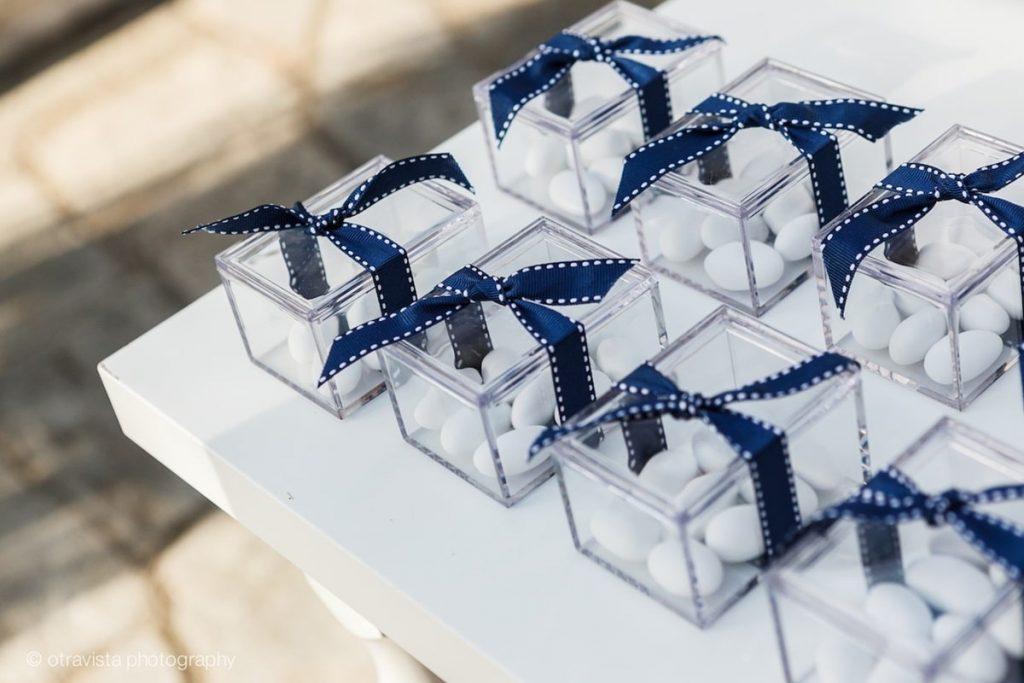 μπλε μπομπονιέρες γάμου κουτί plexiglass