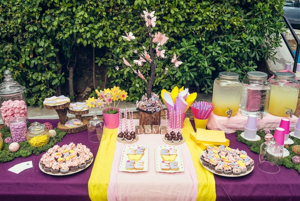 pink and yellow wedding wish table decoration la madrina