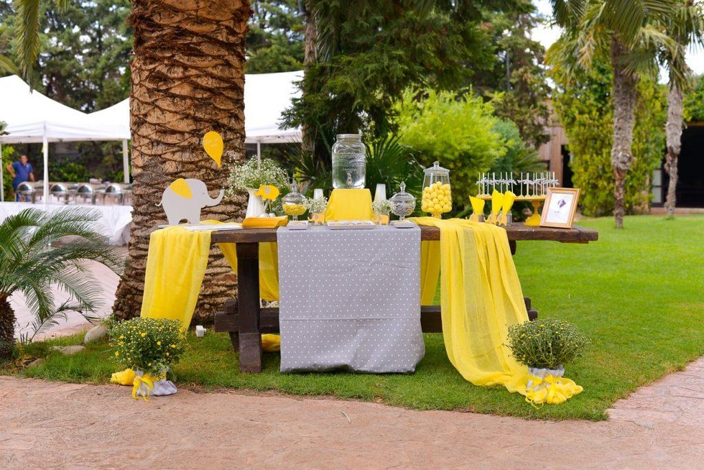yellow and grey wedding wish table decoration la madrina