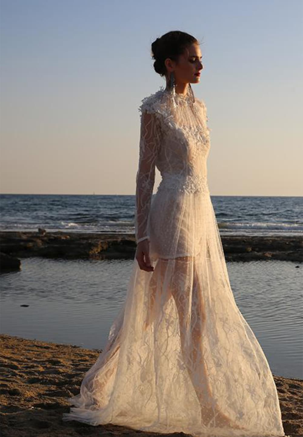 see through tulle wedding dress