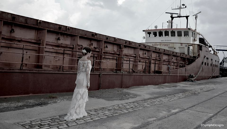 romantic polka dot lace wedding dress