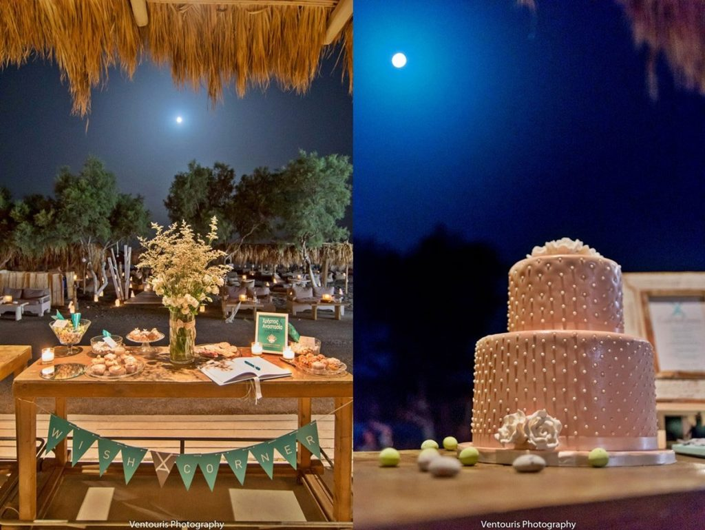 wedding cake and candy table