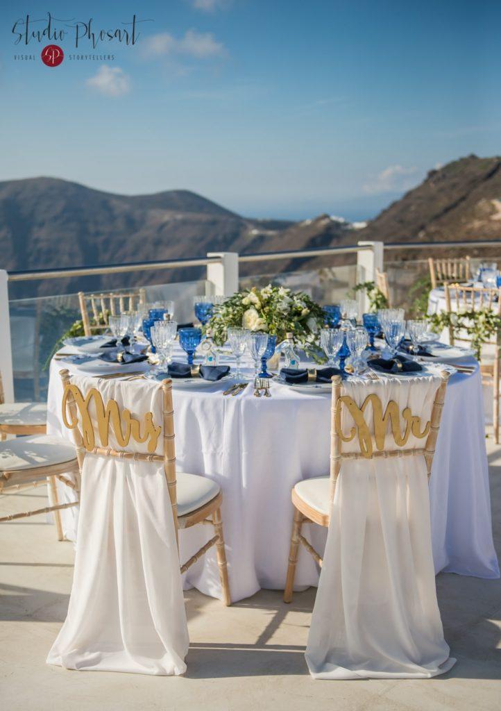 μπλε διακόσμηση γάμου στη σαντορίνη