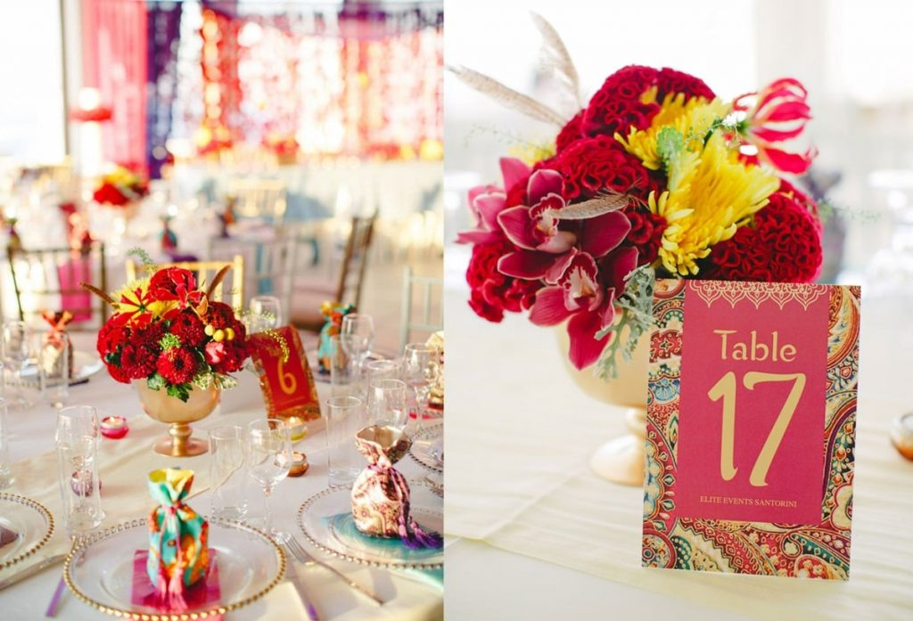 colorful ethnic wedding centerpieces