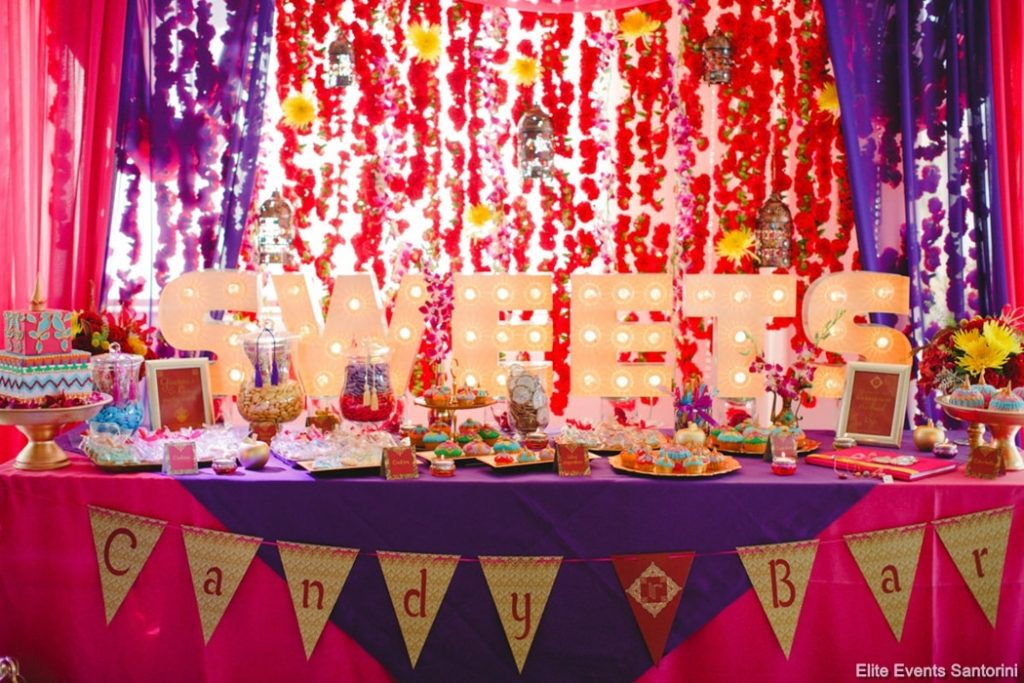 colorful ethnic wedding candy table