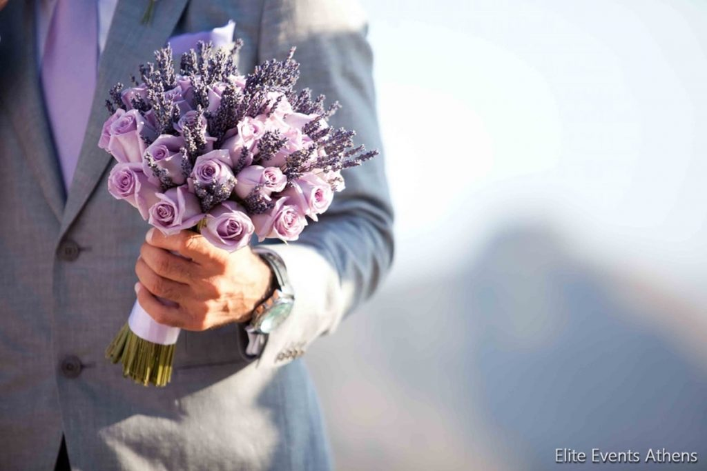 lilac wedding bouquet with lavender