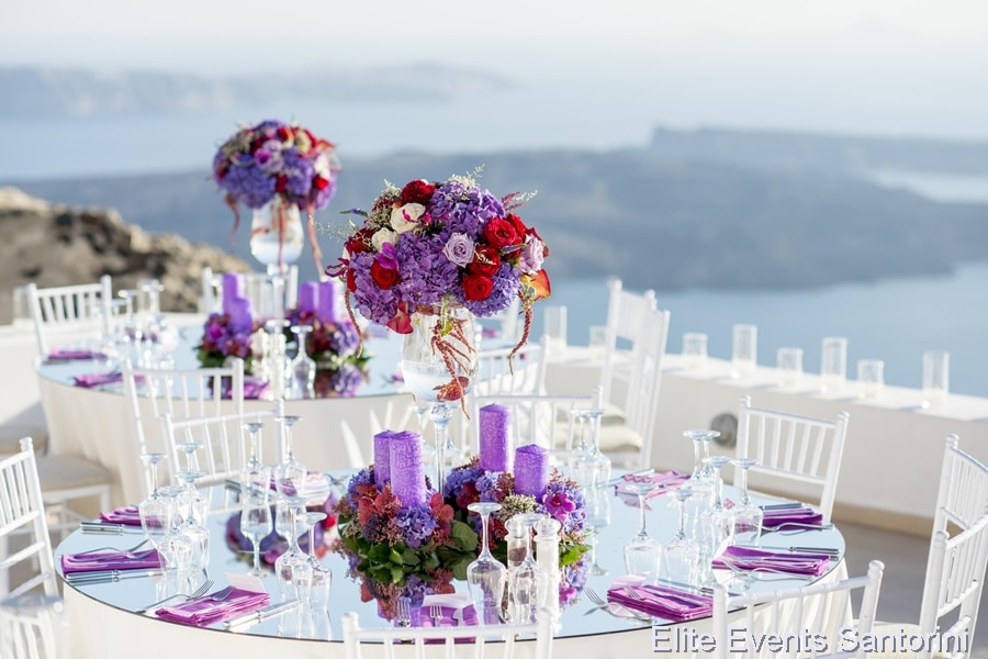 purple wedding decoration in santorini