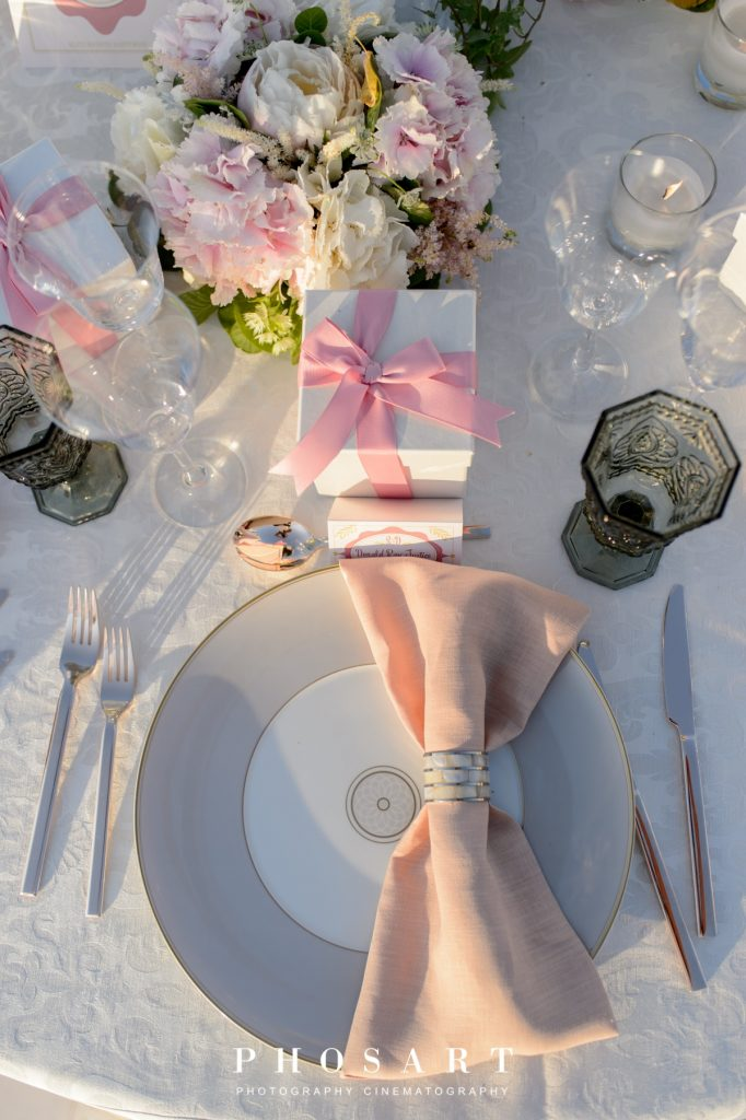 romantic wedding in santorini with pink peonies
