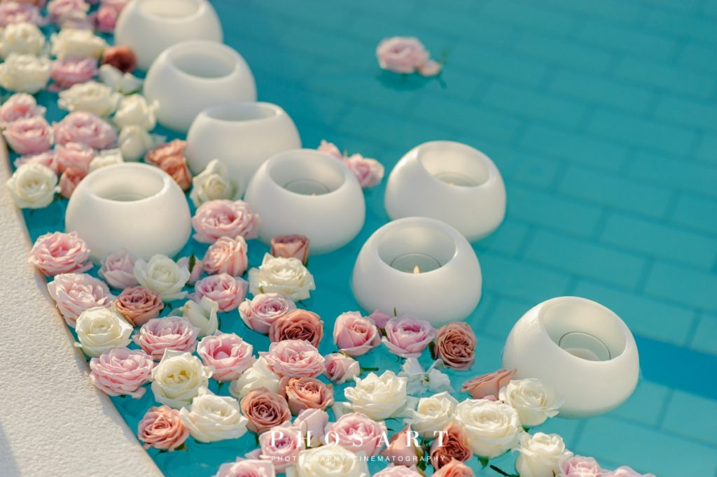 romantic pool wedding decoration