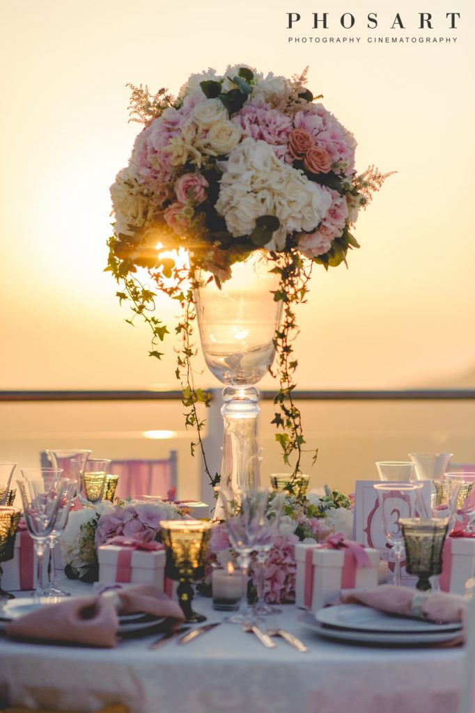 pink wedding decoration in santorini