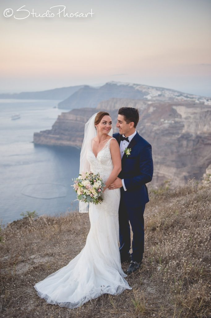 bride and groom in santorini