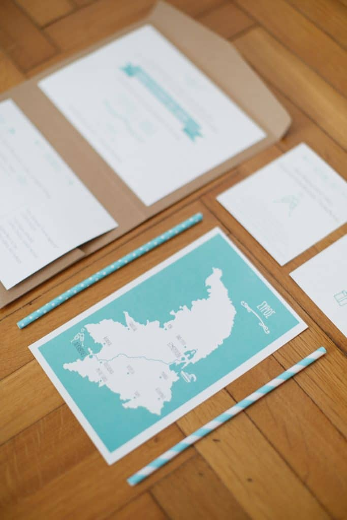 Blue wedding invitation for summer wedding in Syros island La Fete