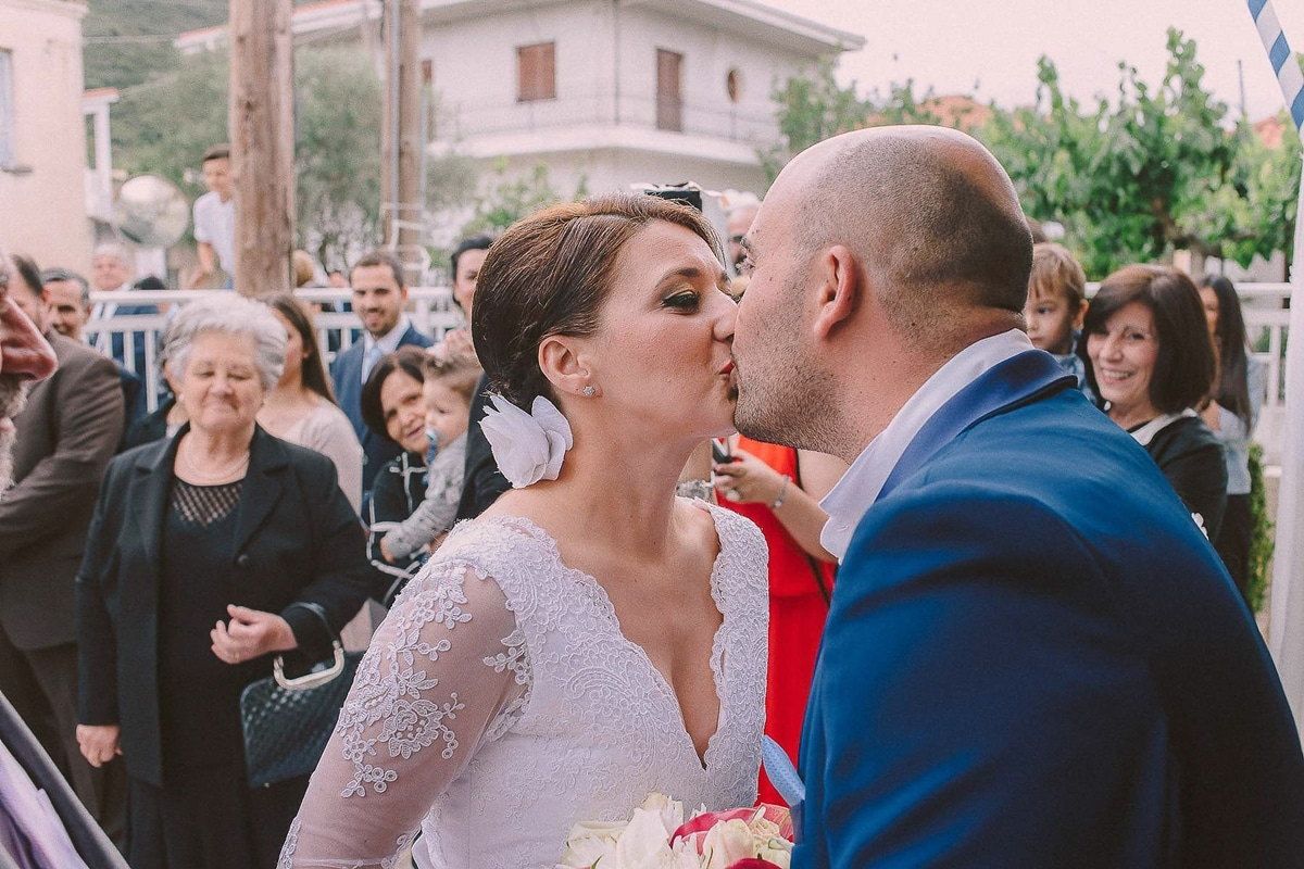 Bride and groom;s kiss