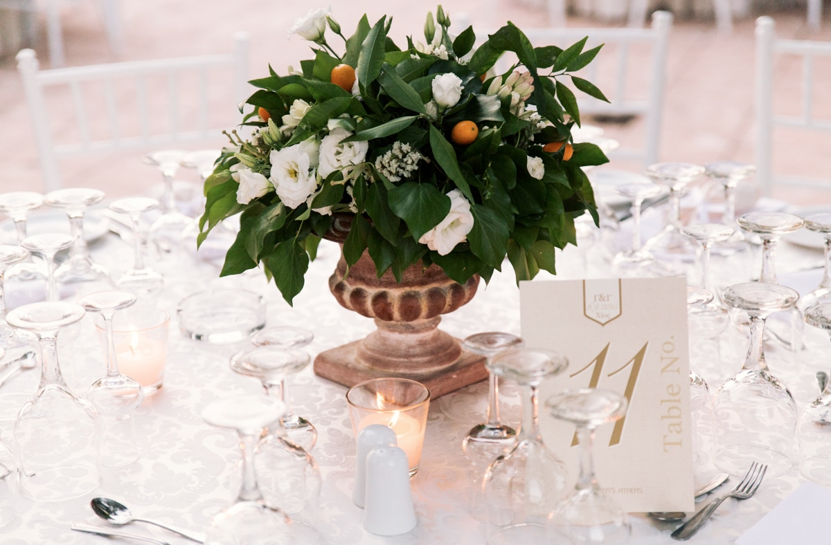 wedding centerpiece with jasmine
