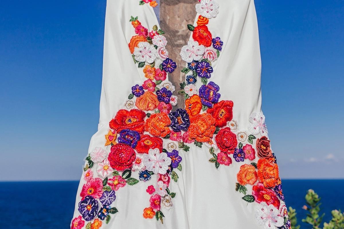 white A line wedding dress with deep V neckline