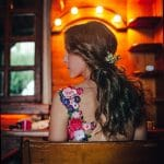 Bridal hair styling with flowers