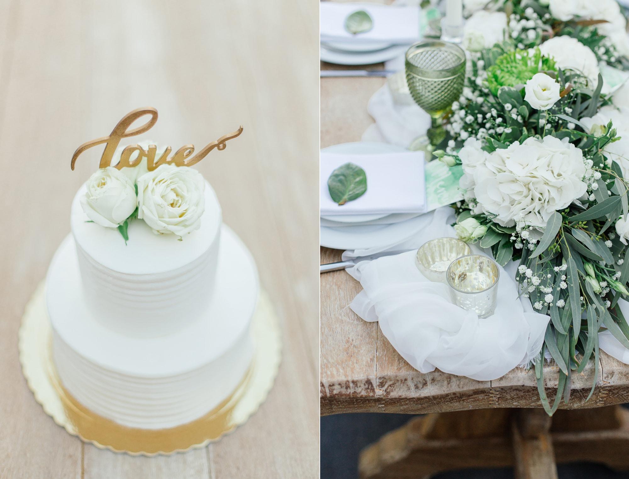 rustic wedding decoration and white wedding cake