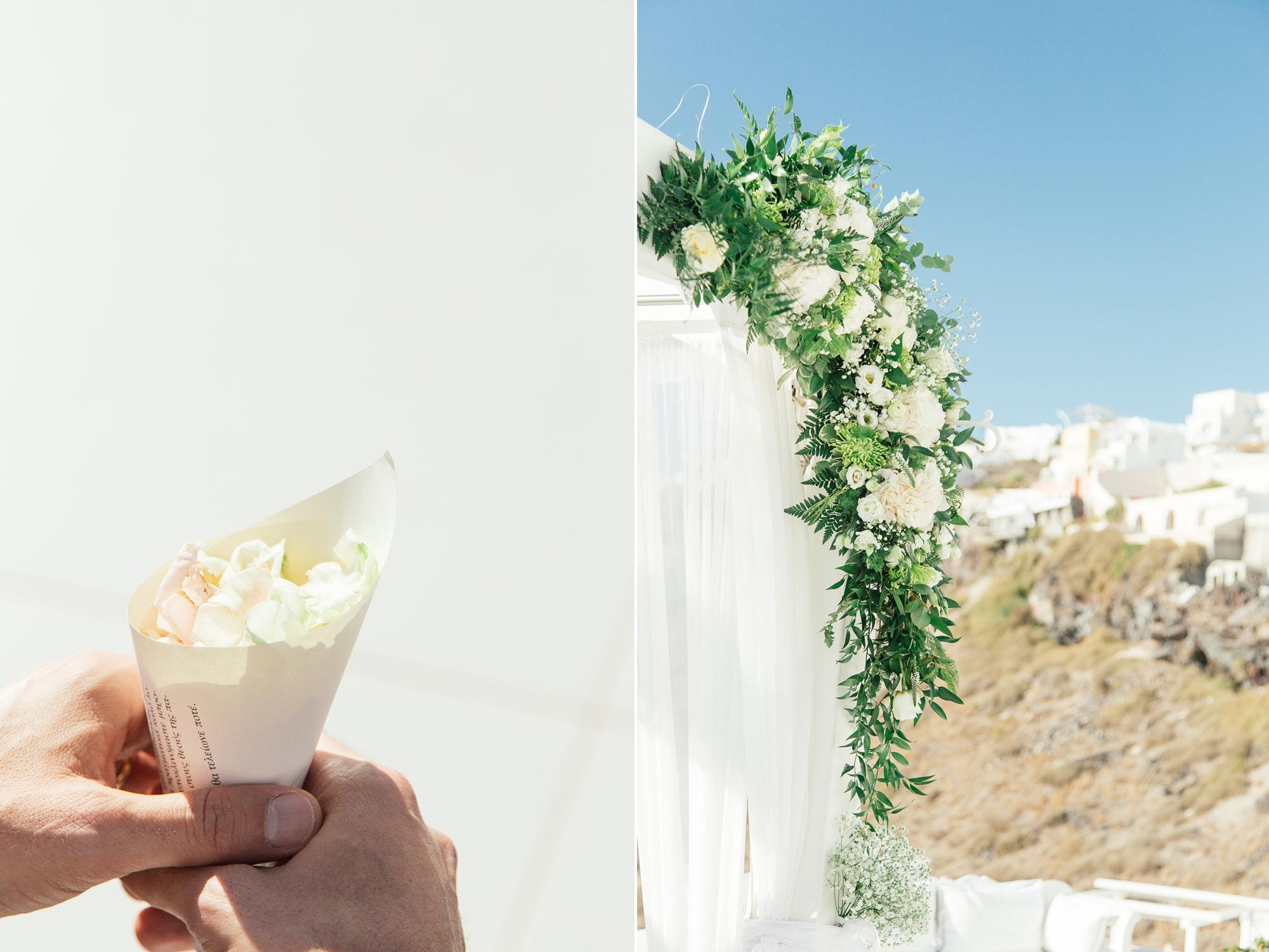 καταπράσινος γάμος στη Σαντορίνη