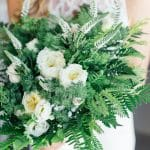 bridal bouquet with greenery and roses