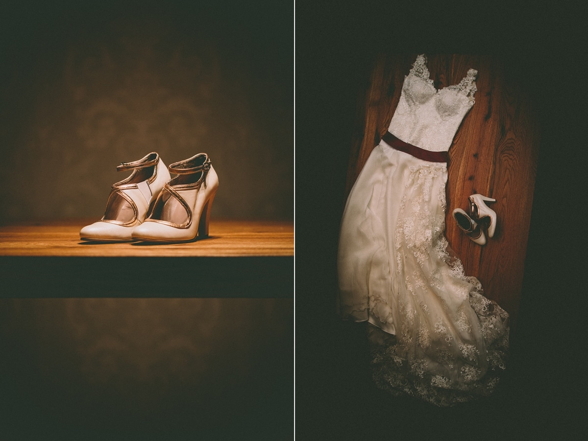 white wedding dress with lace and handmade wedding shoes