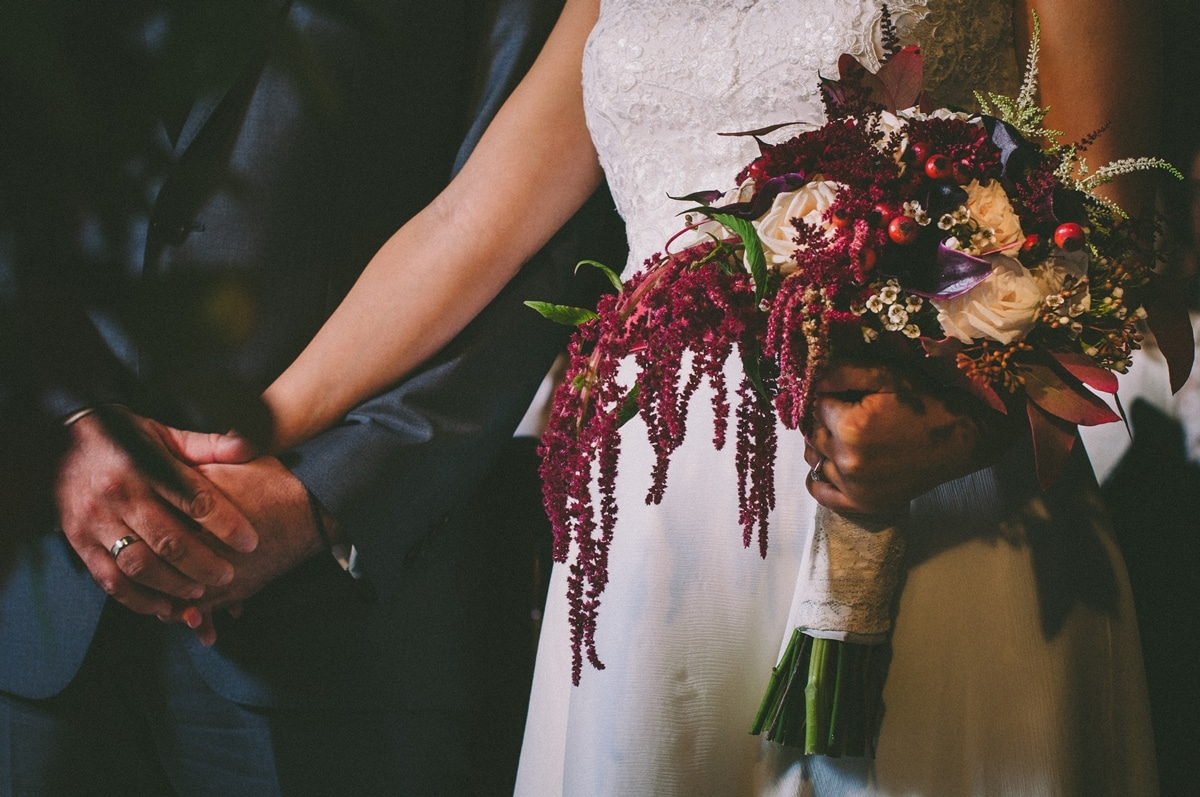bridal bouquet for a Fall wedding in marsala wedding