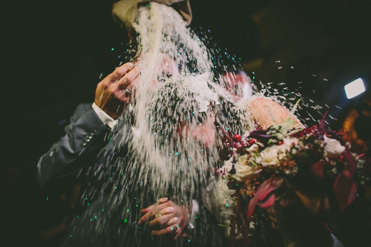 Tradition of rice throwing to bride and groom