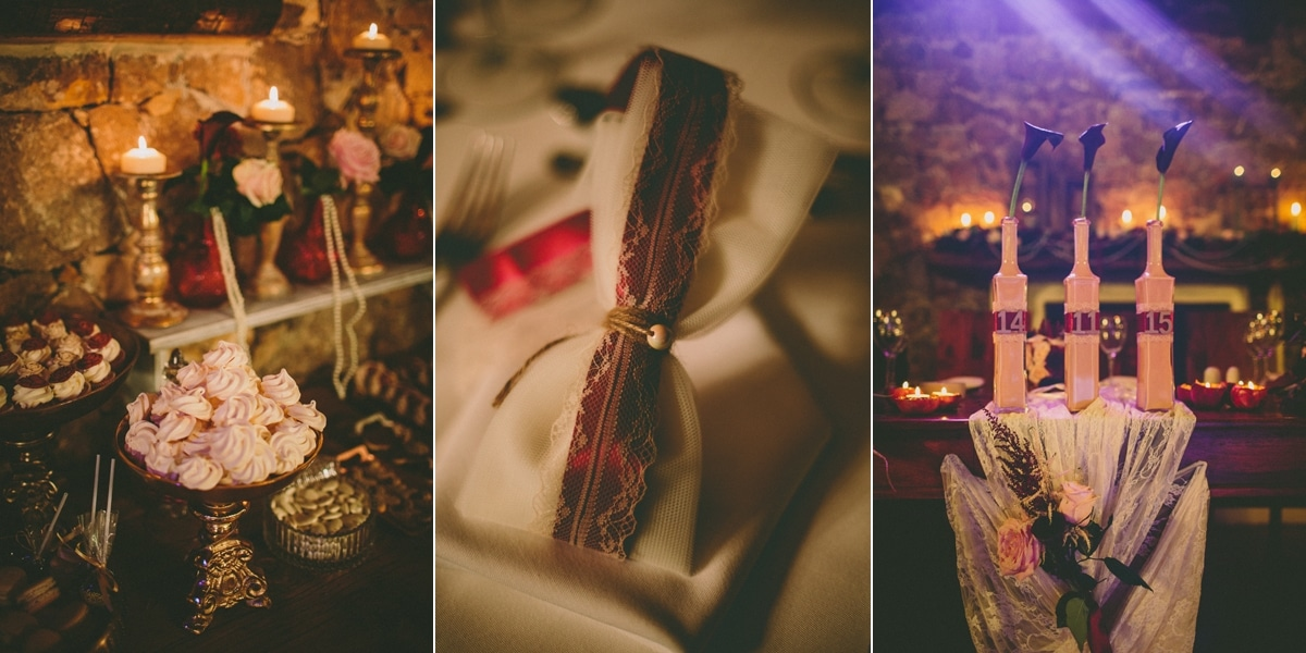 Wedding decoration for a fall marsala colored wedding