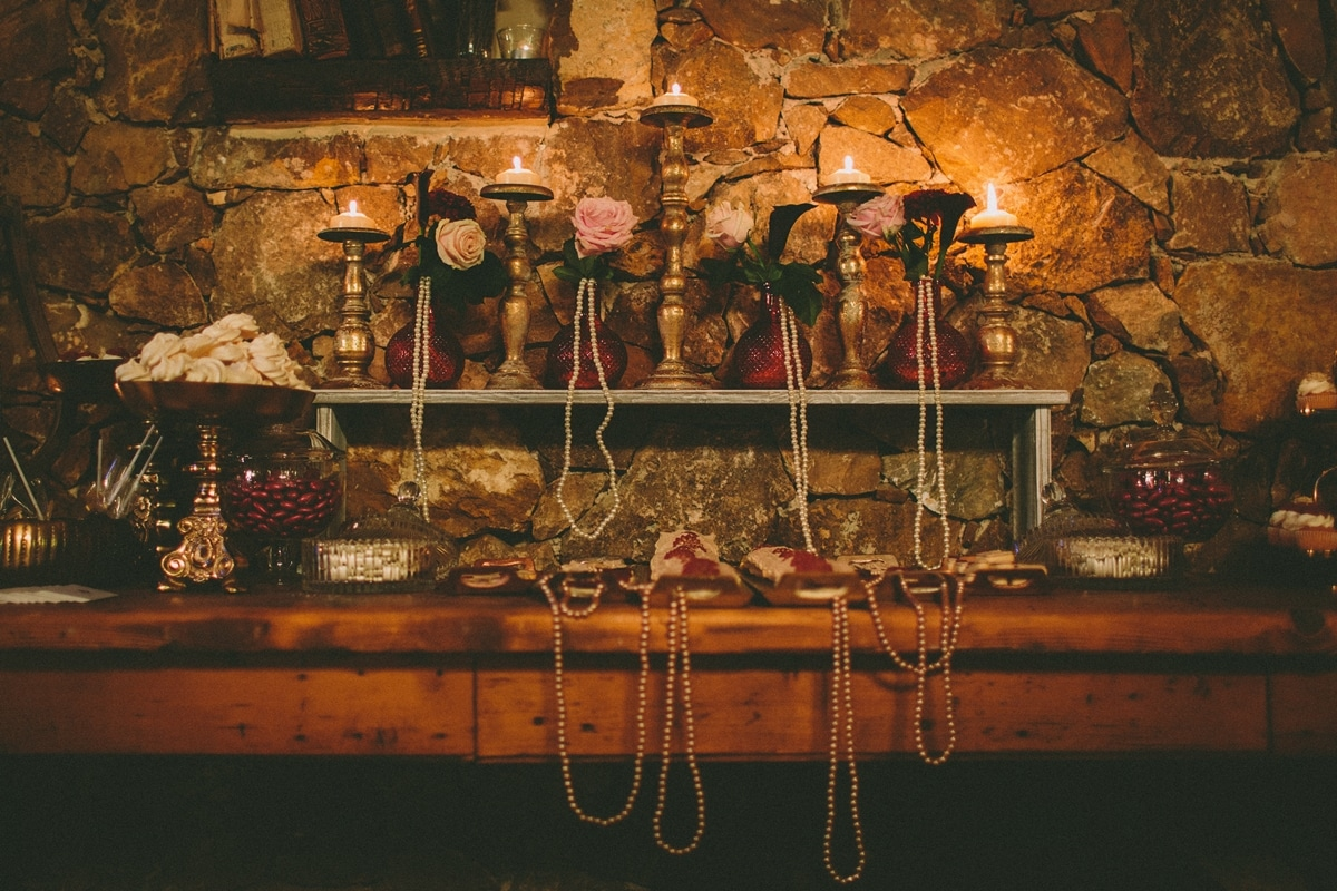 Wedding decoration for a marsala fall wedding with pearls