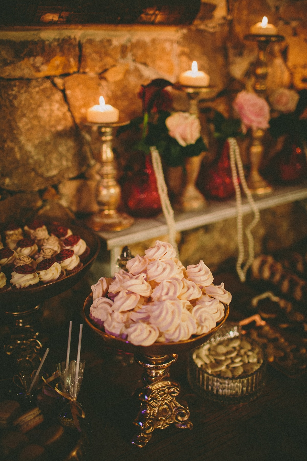 Pink colored wedding desserts