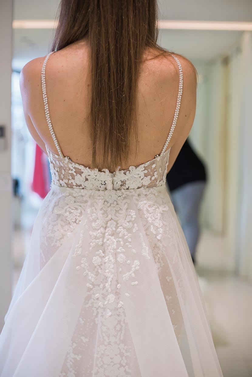 open back wedding dress and pearled straps