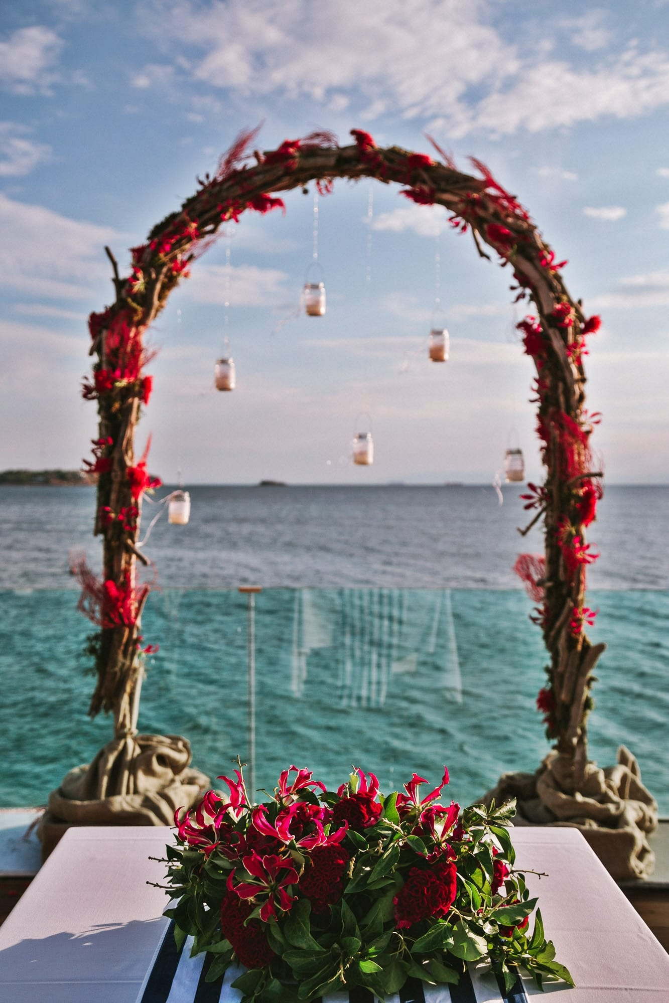 nautical themed wedding with coral flowers