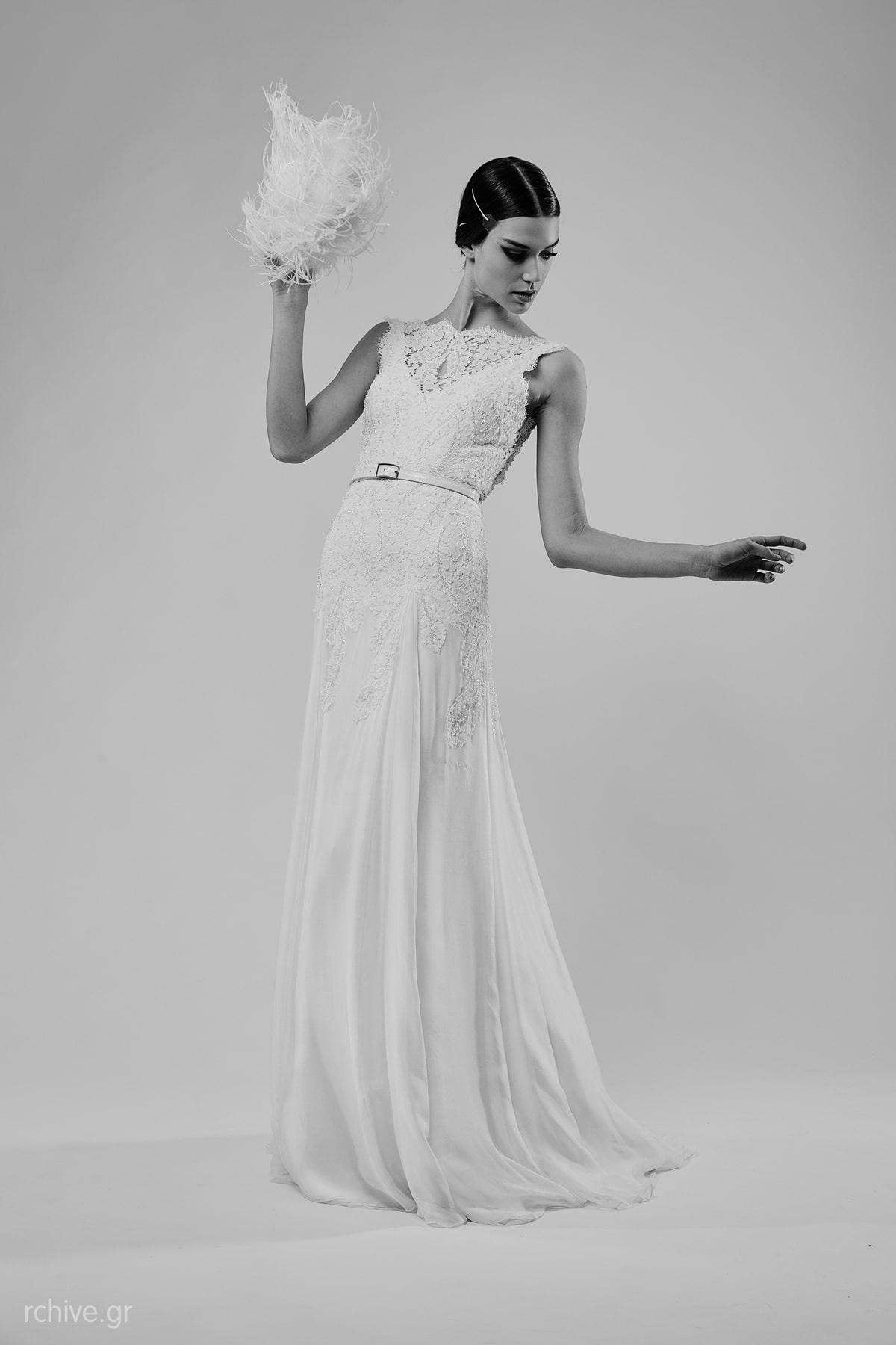 Sleek wedding dress with closed neckline and thin white belt Mairi ...