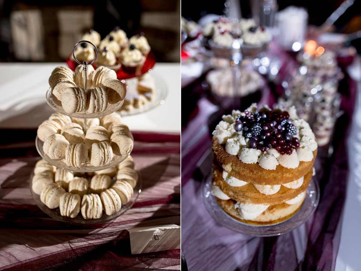 Wedding desserts with blue berries
