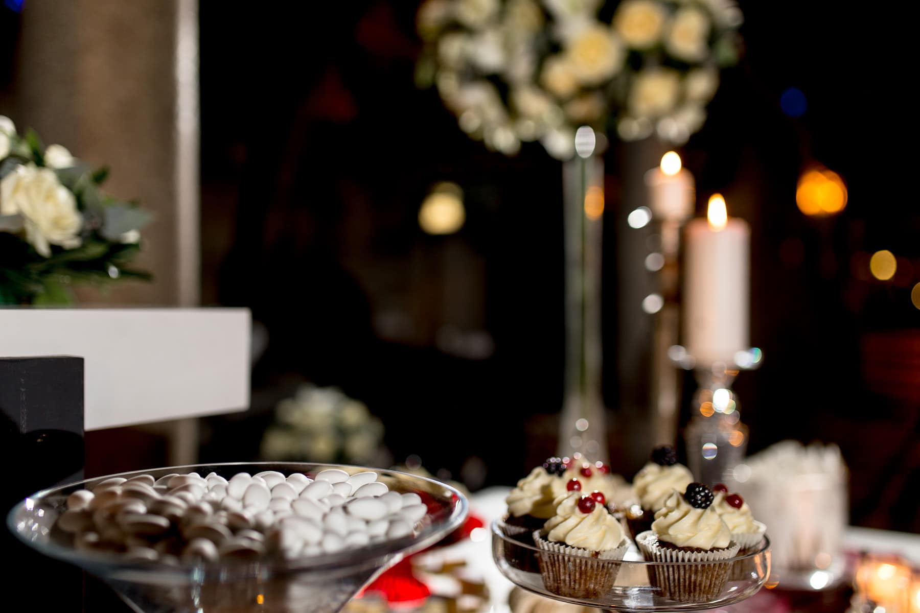 Wedding cupcakes with blue berries