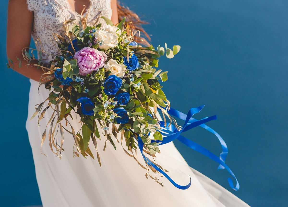 Blue bridal bouquet with roses