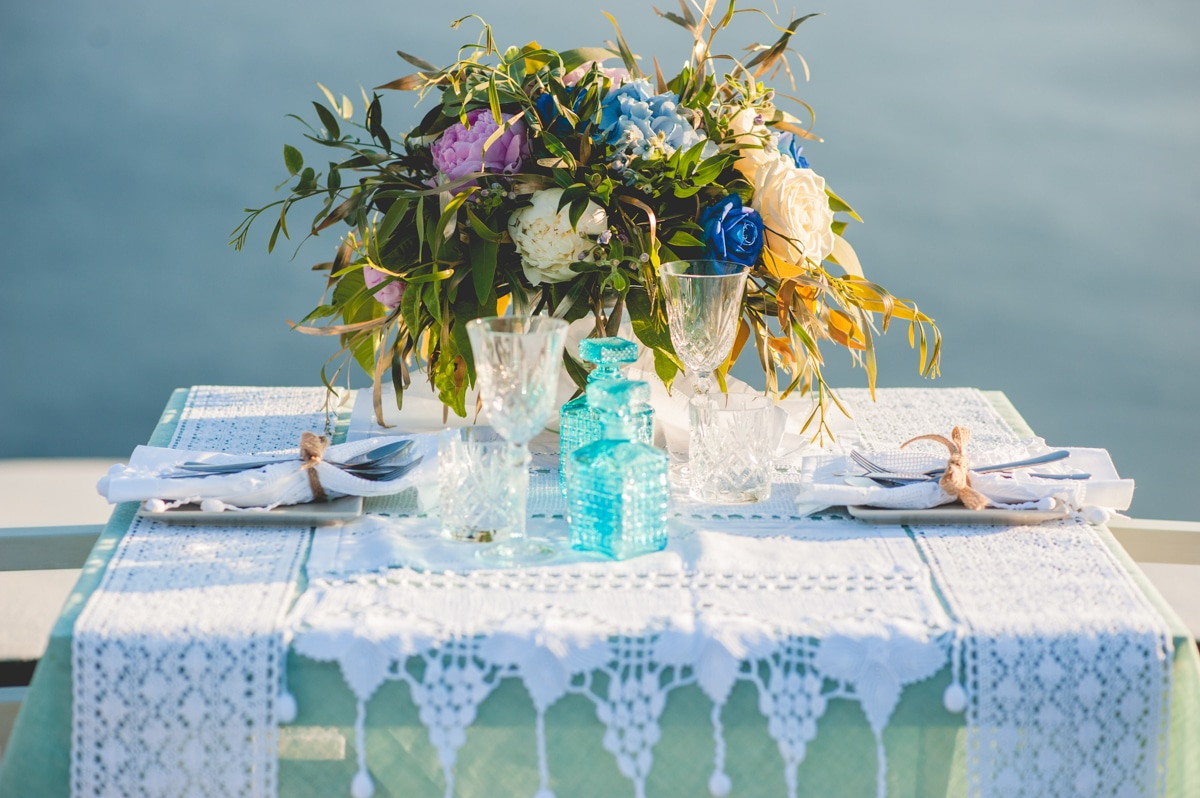 Boho wedding centerpiece with roses