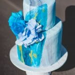 Watercolor blue wedding cake