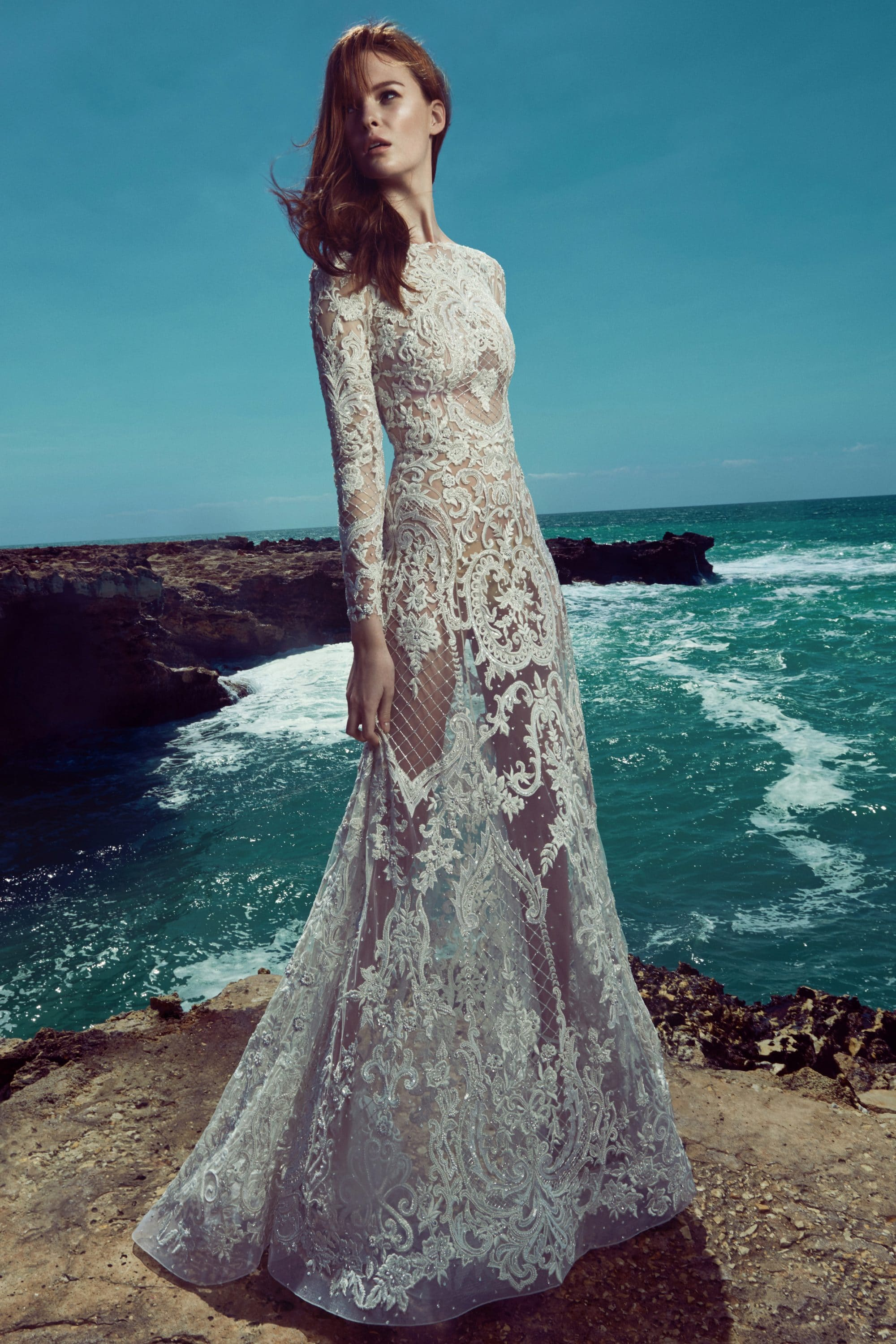 Tight wedding dress with lace and long sleeves Zuhair Murad | The ...