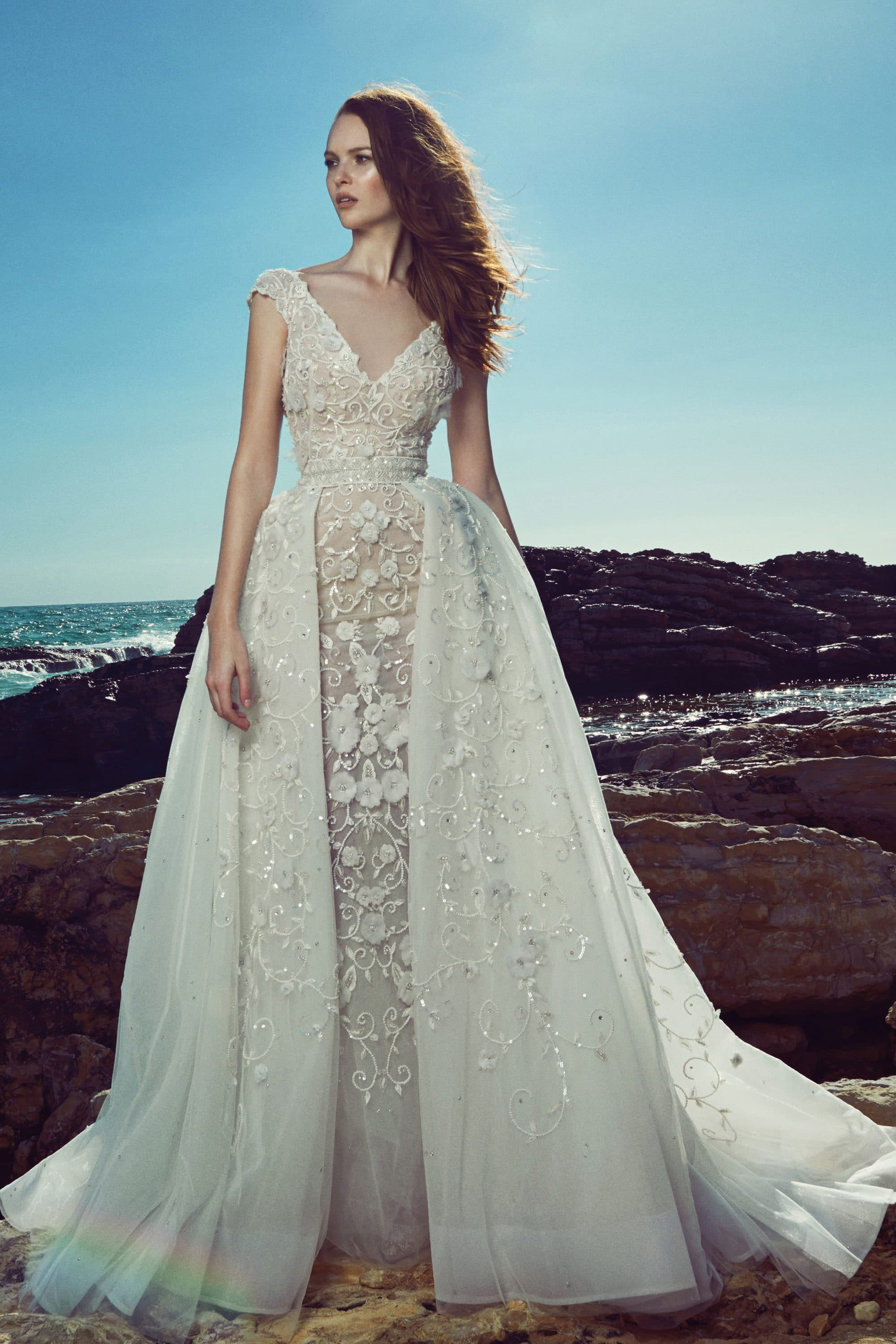 Tight laced wedding dress with overskirt Zuhair Murad | The Wedding ...