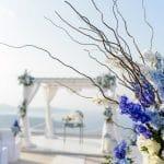 Μπλε διακόμσηση γάμου σε νησί