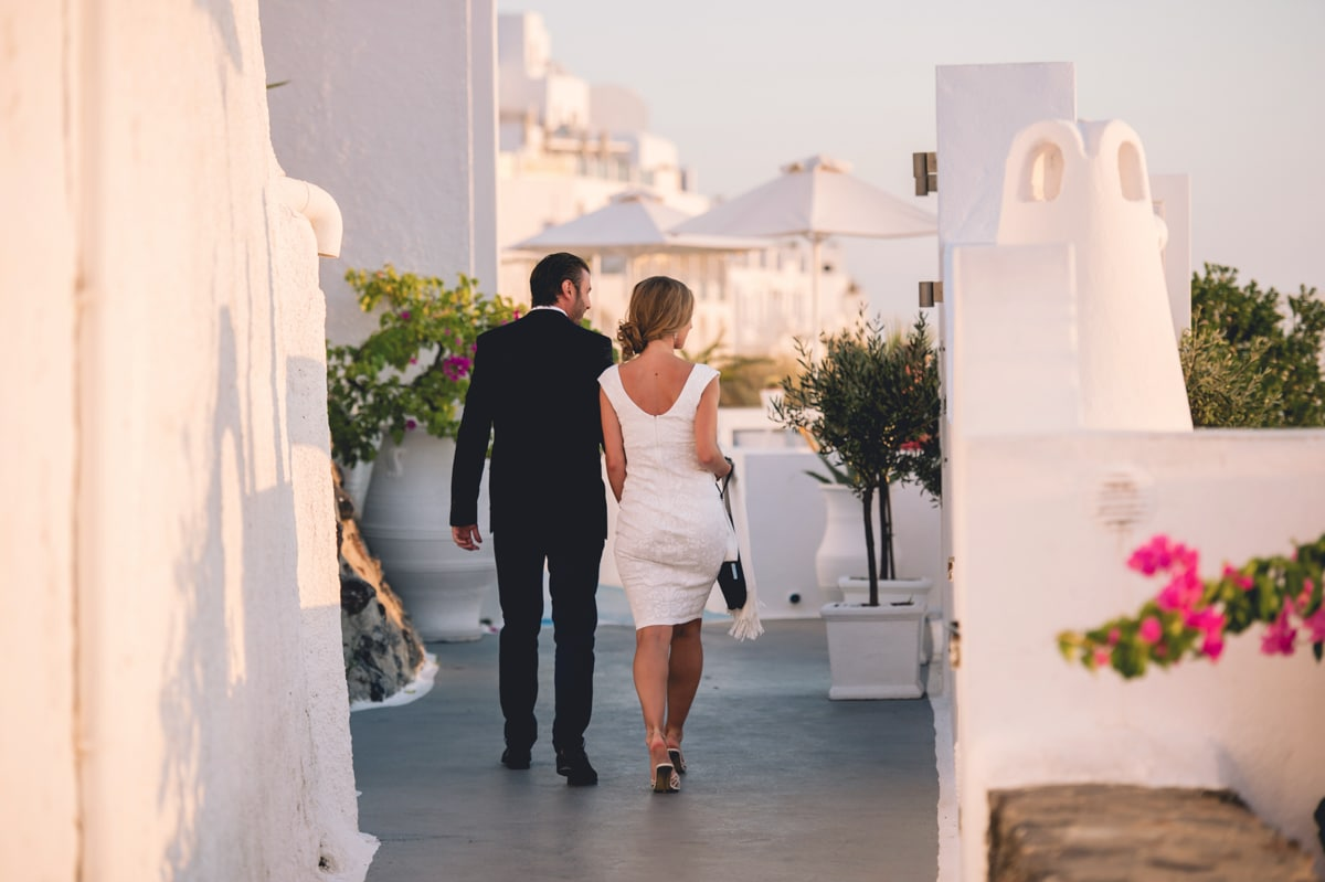 Romantic wedding proposal in Santorini
