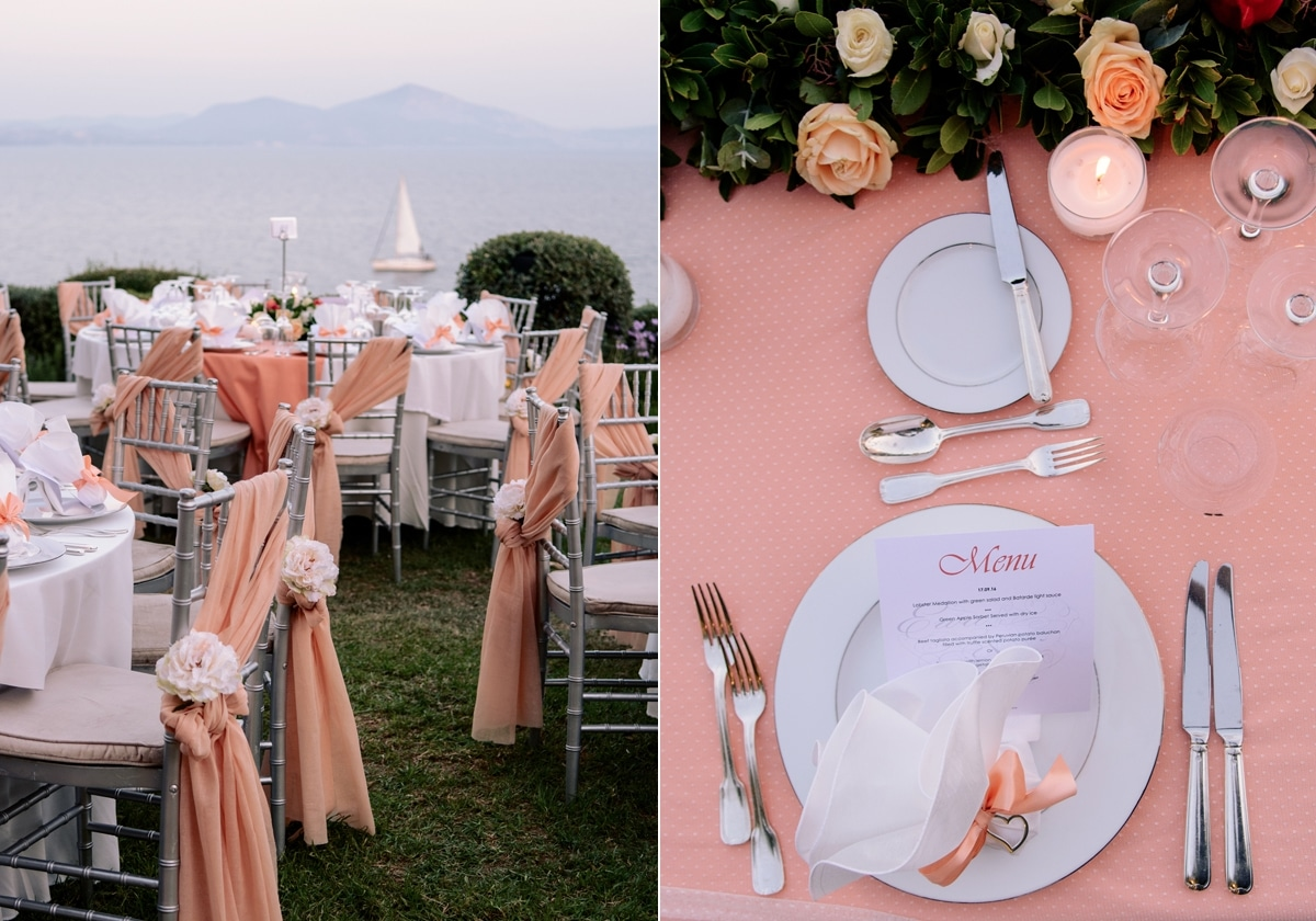Wedding table setting in pink colors