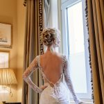 Mermaid laced wedding dress with long sleeves and open back Galia Lahav
