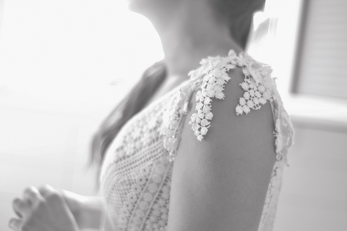 Boho wedding dress with crochet lace Denise Elefthriou