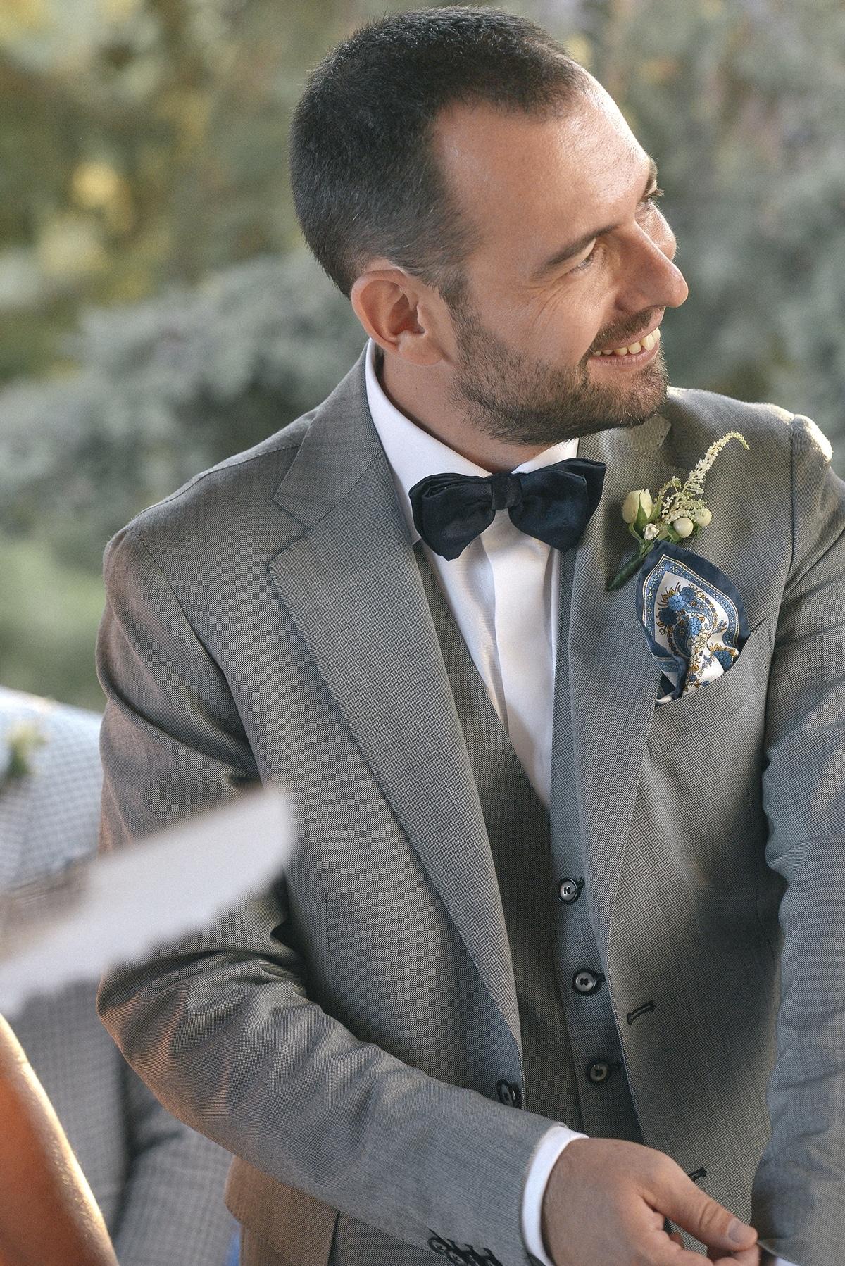 Groom's gray suit