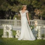 A line boho wedding dress