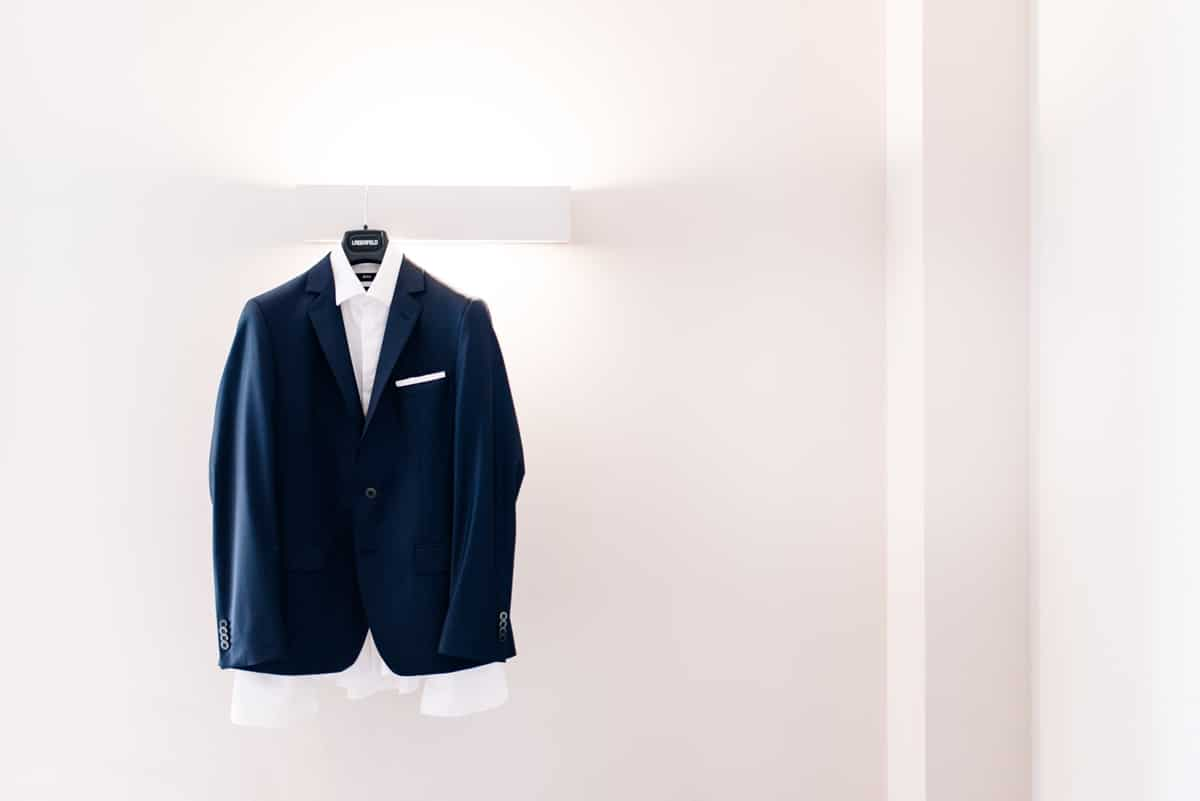 Dark blue groom's suit