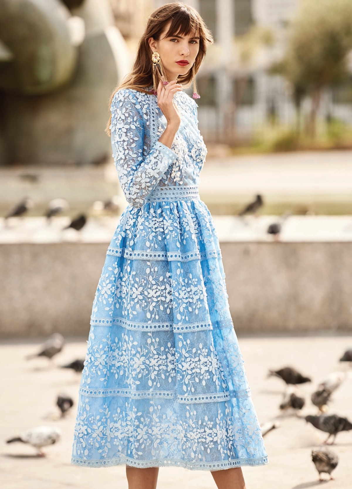 Midi long sleeved light blue dress with 3D prints Christos Costarellos