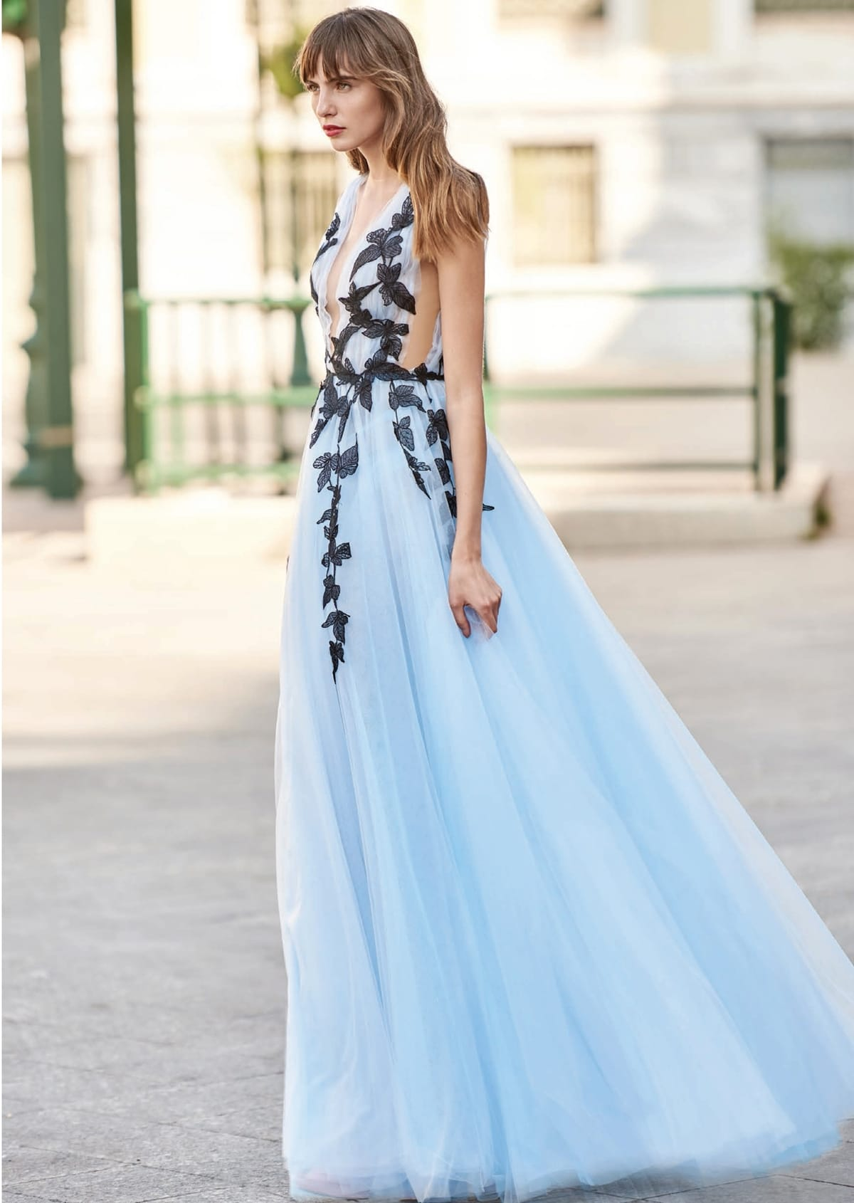 Long ethereal light blue dress with tulle skirt and black embroideries Christos Costarellos