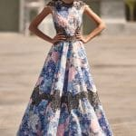 Long A line floral dress with lace Christos Costarellos